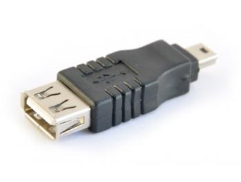 Adapter USB A hona - 5-pol Mini hane - finns på Kabelbutiken.com