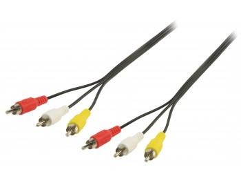 A/V-kabel 3xRCA hane - 3xRCA hane 10 m