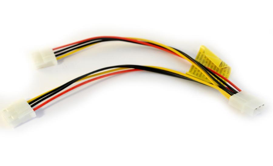 """Y-kabel Molex 5.25"""" hane - 2x Molex 5.25"""" hona"""