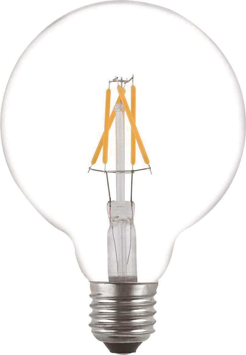 Filament Led-Lampa, G125, Klar, 4W, E27, 230V