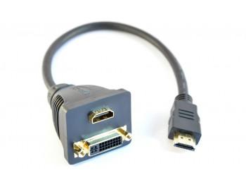 Adapter HDMI hane - DVI-D hona + HDMI hona - finns på kabelbutiken.com