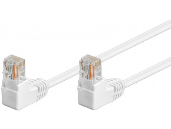 Nätverkskabel CAT 5e U/UTP Vit Patch med två vinklade kontakter