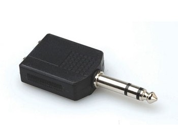 Adapter Tele 6.35mm hane - 2x 6.35mm hona