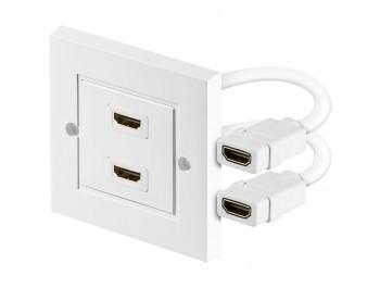 HDMI-uttag med väggpanel - Dubbla uttag