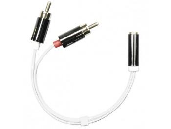 Adapter Tele 3.5mm hona - 2x RCA hane Vit