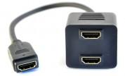 Adapter HDMI hona - 2x HDMI hona | Kabelbutiken.com