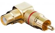 Vinklad RCA-adapter hane/hona röd
