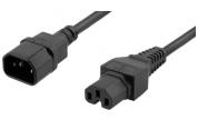 Apparatkabel IEC 60320 C15 till rak IEC 60320 C14