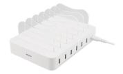 USB laddningsstation, 6x USB-A portar, 5V DC, 10A, 50W, 1,5m kabel, vit