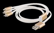 EPZI Multiladdare, USB-C, Lightning, Micro USB, USB-A, 1m, vit