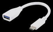 USB 3.1 adapter Gen 1 - Type C hane - Type A hona - 15cm - vit